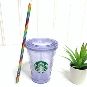 🌵Reusable Starbucks Cup Cold Clear Rainbow Straw